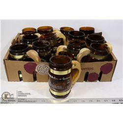 FLAT OF 13 BROWN GLASS BEER MUGS WITH WOOD HANDLES