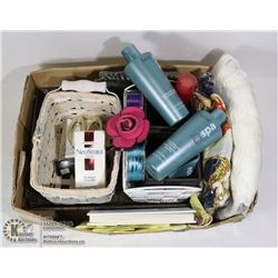 FLAT OF COSMETIC ITEMS AND BASKETS
