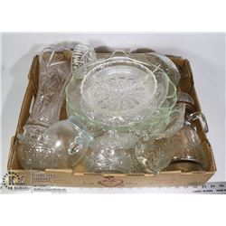 CRYSTAL & GLASSWARE- BOX LOT ASSORTED