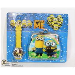 CHILD'S MINION WATCH AND WALLET SET NEW