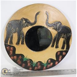 HAND CARVED ELEPHANT MIRROR 16 INCHES WIDE