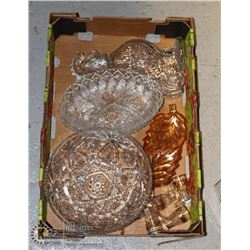 LARGE BOX OF DEPRESSION GLASS AND MORE STAR