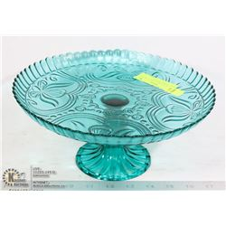 TEAL BLUE CAKE STAND 12 INCHES WIDE, FLORAL DESIGN