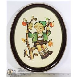 VINTAGE HUMMEL METAL TRAY APPLE BOY, 12 X 14.5 IN