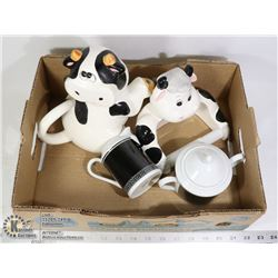 BOX OF COW ITEMS COW TEAPOT (4 CUP), COW TOILET