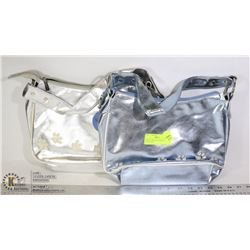 PAIR OF GIRLS SILVER KITTY PURSES NEW