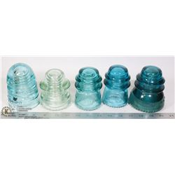 ANTIQUE GLASS ELECTRICAL INSULATORS- 5 ASSORTED