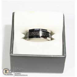 STAINLESS STEEL SPINNER RING WITH LORDS PRAYER IN