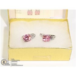 STERLING SILVER EARRINGS WITH PINK CZ AND 2 SMALL