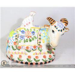 VINTAGE RAM/SHEEP COOKIE JAR MADE BY WORLD BAZAAR