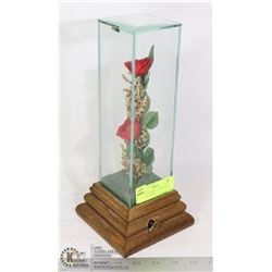VINTAGE ROSES IN GLASS CASE MUSICAL, PLAYS