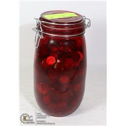 LARGE RED MASON JAR WITH OLD PENNIES