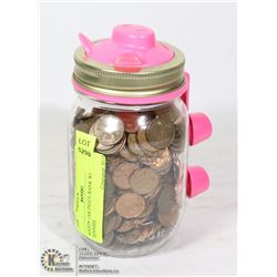 MASON JAR PIGGY BANK WITH OLD PENNIES
