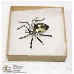 RHINESTONE SPIDER BROOCH WITH LARGE STONE BODY