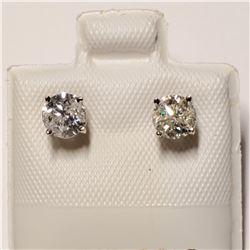 14K WHITE GOLD DIAMOND(F-G,I2-I3)(0.8CT) EARRINGS