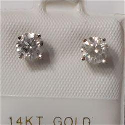 14K WHITE GOLD DIAMOND(F-G, I2-I3)(0.98CT) EARRING