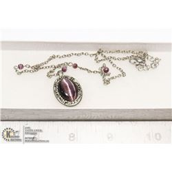COSTUME JEWELRY NECKLACE WITH RUTILATED STONE