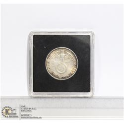 NAZI GERMANY 1939 SILVER 2 MARK COIN NEAR MINT