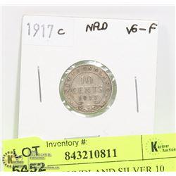 1917 NEWFOUNDLAND SILVER 10 CENT COIN