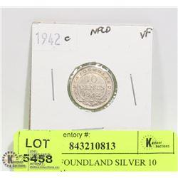 1942 NEWFOUNDLAND SILVER 10 CENT COIN