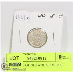 1941 NEWFOUNDLAND SILVER 10 CENT COIN