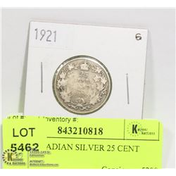 1921 CANADIAN SILVER 25 CENT COIN