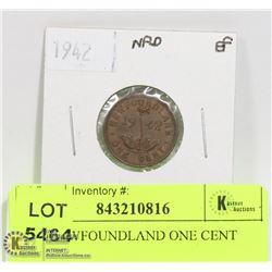 1942 NEWFOUNDLAND ONE CENT COIN
