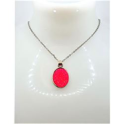 20) LAB CREATED HOT PINK OVAL OPAL PENDANT