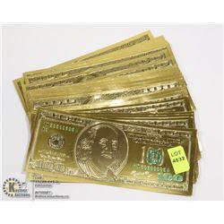 STACK OF GOLD LOOK 100 DOLLAR US NOVELTY BILLS