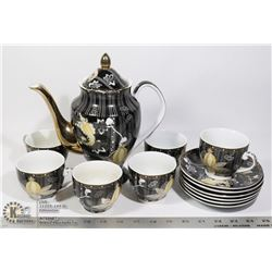YU TAI JAPAN DECOR 24KT GOLD TRIM TEA SET SERVES 6