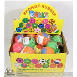 RETAIL DISPLAY OF SPONGE RUBBER BALLS