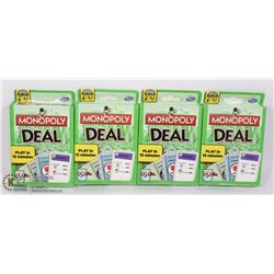 4 PACKS OF MONOPOLY DEAL CARD GAMES