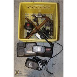 BASKET WITH 6 HAMMERS AND BATTERY CHARGER