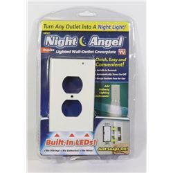 NEW NIGHT ANGEL LED LIGHTED WALL OUTLET COVER PLAT