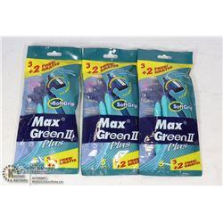 BAG OF MAX GREEN RAZORS 3X