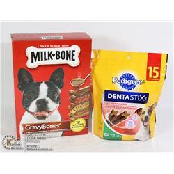 LOT OF NEW MILKBONE & PEDIGREE DOG TREATS