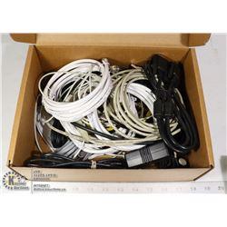 BOX LOT ASSORTED CABLES, CAT 5, CONNECTORS, ETC