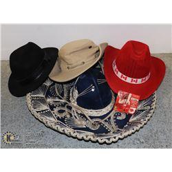 4 NOVELTY HATS INCLUDING GENUINE MEXICAN SOMBRERO