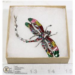 RHINESTONE DRAGONFLY BROOCH WITH MOVING TAIL