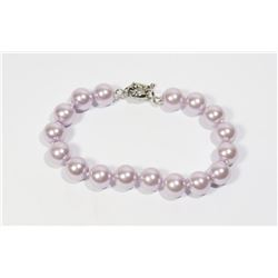 #37-LIGHT PURPLE SEA SHELL PEARL BRACELET 10mm/7.5