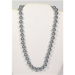 #13-GREY SEA SHELL PEARL NECKLACE 10mm/15""