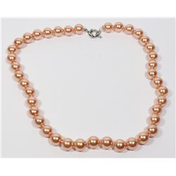 #16-ORANGE SEA SHELL PEARL NECKLACE 10mm/15""