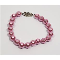#29-DARK PINK SEA SHELL PEARL BRACELET 8mm/7.5""