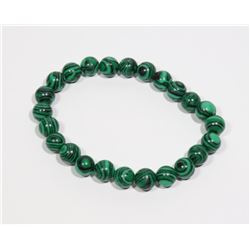 #177-NATURAL MALACHITE BEAD BRACELET 8mm/7.5""