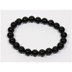 #186-NATURAL RAINBOW BLACK OBSIDIAN BRACELET