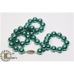 #137-SEA SHELL PEARL NECKLACE  10mm/ 17""