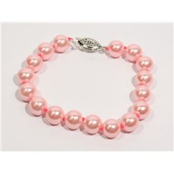 #27-PINK SEA SHELL PEARL BRACELET 10mm/7.5""