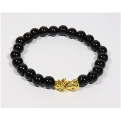 #189-BLACK OBSIDIAN BRACELET 8mm/7.5""