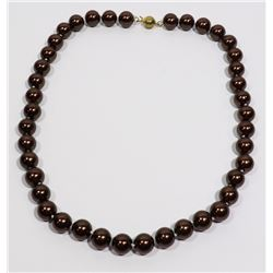 #40- BROWN SEA SHELL PEARL NECKLACE 10mm/15""