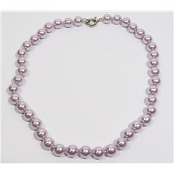 #35-PURPLE SEA SHELL PEARL NECKLACE 10mm/7.5""